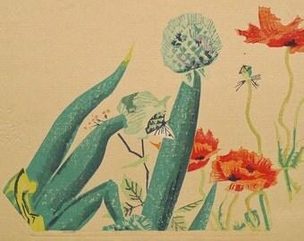 "Ukiyoe, Original Sōsaku-hanga, Woodblock print, antique, Kotoduka Eiichi, ""Green onion and Poppy"""
