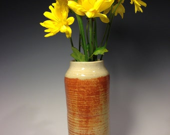 Ceramic Tall Straight Vase, Blended Cinnamon and Cream Colors, Stoneware