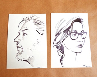 Personalized Simple Pen and Ink Black and White Portrait, 5 x 7 inches Ivory Card Stock