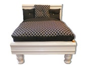 Small Black White Durable Wood Dog Bed - Cat Bed - Pet Bedding
