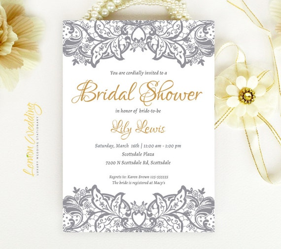 Lace bridal shower invitations custom bridal shower for Custom wedding shower invitations