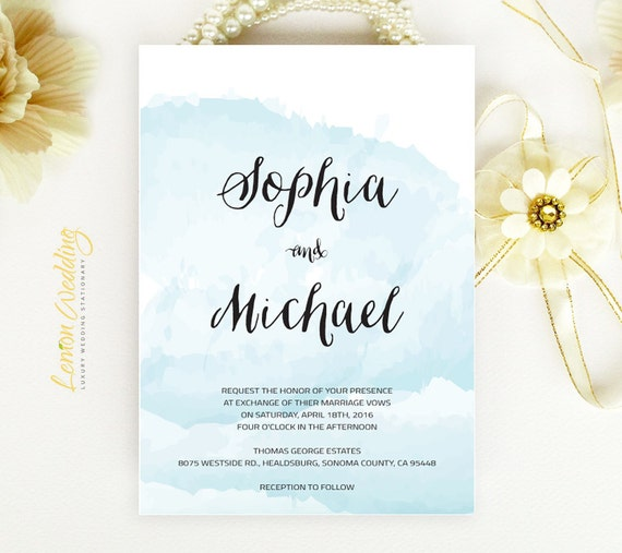 Watercolor wedding invitations printed on luxury shimmer paper like this item junglespirit Image collections
