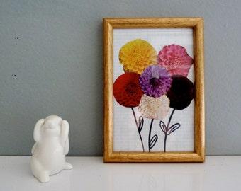 Frame - collage - dahlia flowers bouquet - handmade