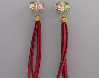 CLEARANCE - Crystal and Suede Tassel Earrings