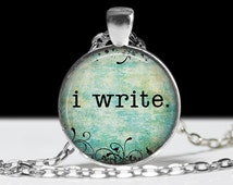 Writer Jewelry Writer Pendant Wearable Art Quote Pendant Charm Inspirational Necklace