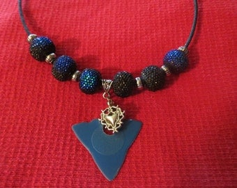 Jazzy Jam Pick -  Dulcimer Player's Beaded Necklace  with Pick