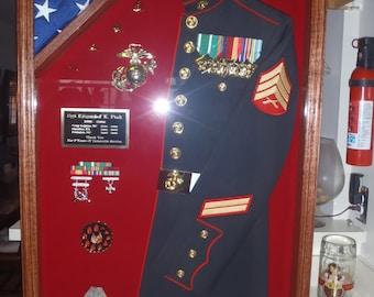 Military Half Uniform Shadow Box with Flag