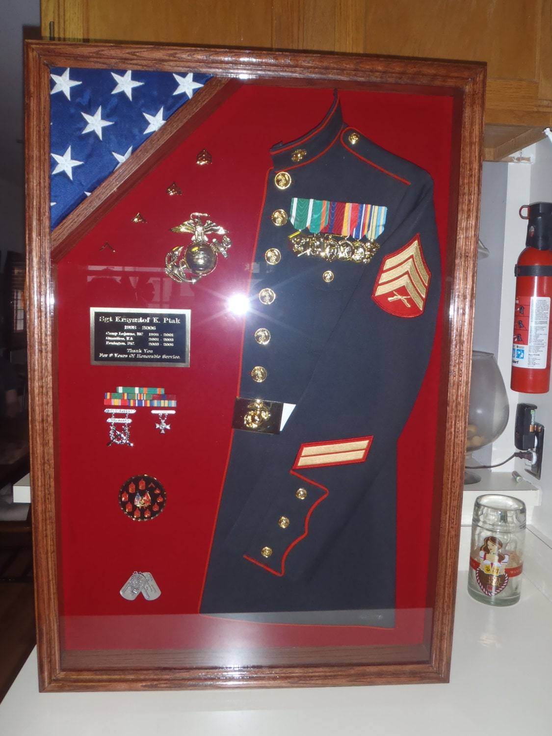 Military Half Uniform Shadow Box With Flag By