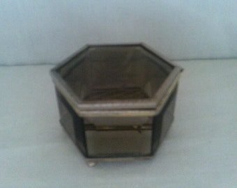 Jewellery / Trinket box Smokey Glass Hexagonal