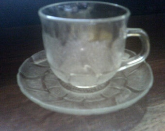 Cup and Saucer Arcoroc Fluer Clear