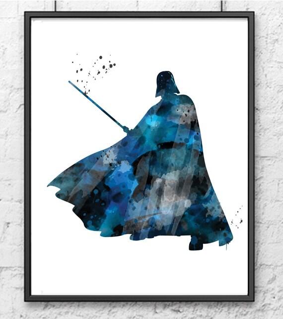Darth Vader Watercolor Print, Star Wars, Movie Poster ...