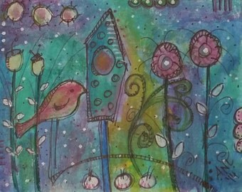 Acrylic painting -  'One Small Bird'   - Acrylic paint and Markers on paper.