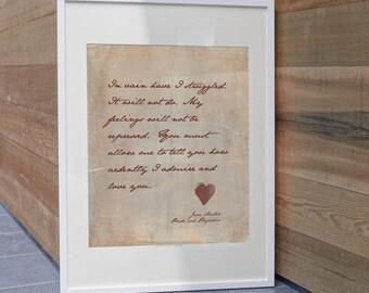 Jane Austen - Pride and Prejudice Quote Art, Mr. Darcy quote, in vain I have struggled, home decor, literary art quote, Mr. Darcy