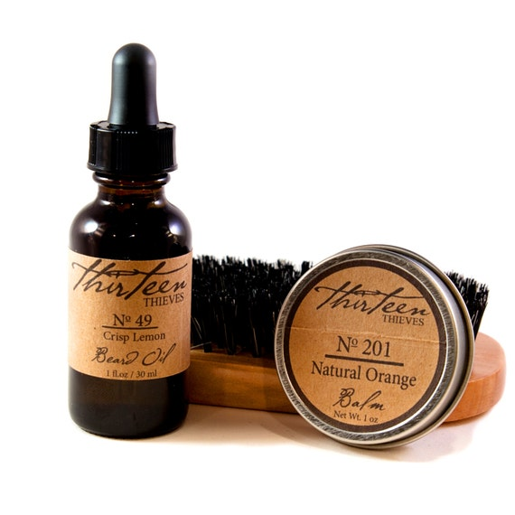 beard grooming kit oil balm brush or comb by thirteenthieves. Black Bedroom Furniture Sets. Home Design Ideas
