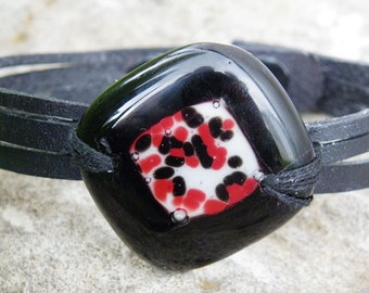 Black leather bracelet and red fused glass / women jewelry handmade