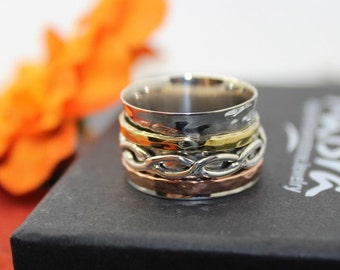 Meditation Ring, Spinner Ring, Sterling Silver Ring,