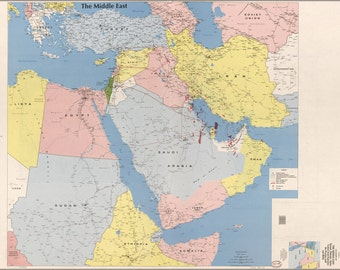 24x36 Poster; Cia Map Of The Middle East 1991