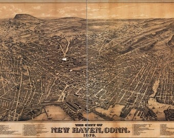 24x36 Poster; Map Of City Of New Haven, Connecticut 1879