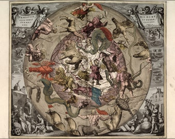 24x36 Poster; Map Of Constellations Zodiac Astrology 1708 P2