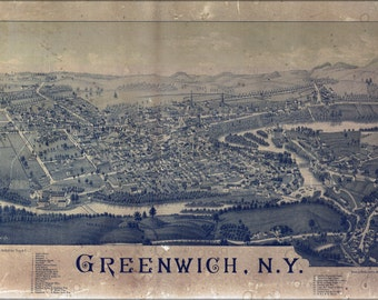24x36 Poster; Map Of Greenwich, New York 1885