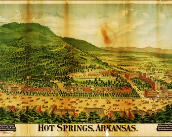 24x36 Poster; Map Of Hot Springs, Arkansas 1890