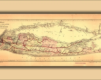 24x36 Poster; Map Of Long Island With Long Island Railroad 1882