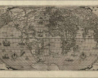 24x36 Poster; Map Of World, 1560