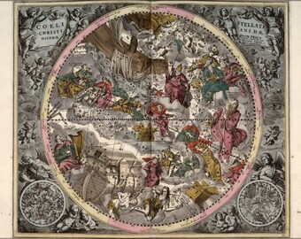 24x36 Poster; Northern Constellations 1708 Zodiac Astrology P5