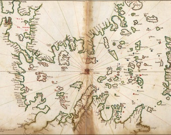 24x36 Poster; Map Of Aegean Sea And Greece Islands 1630