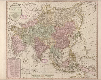 24x36 Poster; Map Of Asia; India China Japan Russia Arabia 1791