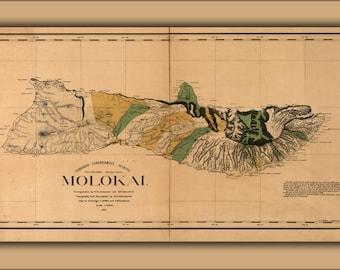 24x36 Poster; Map Of Molokai Hawaii 1897