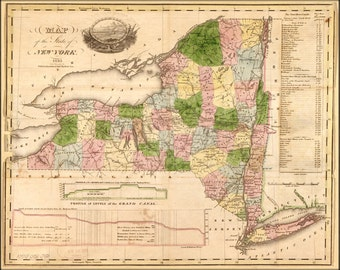 24x36 Poster; Map Of The State Of New York 1833