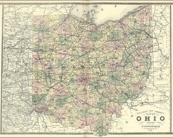 24x36 Poster; Railroad And Township Map Of Ohio 1889