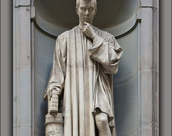 24x36 Poster; Statue Of Niccolo Macchiavelli, By Lorenzo Bartolini, Florence, Italy