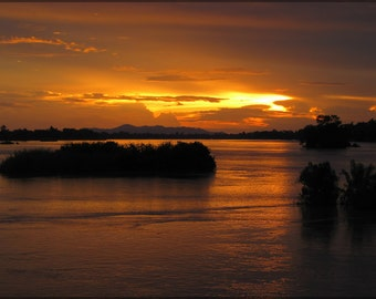 24x36 Poster; Sunset On The Mekong River, Don Det, Laos