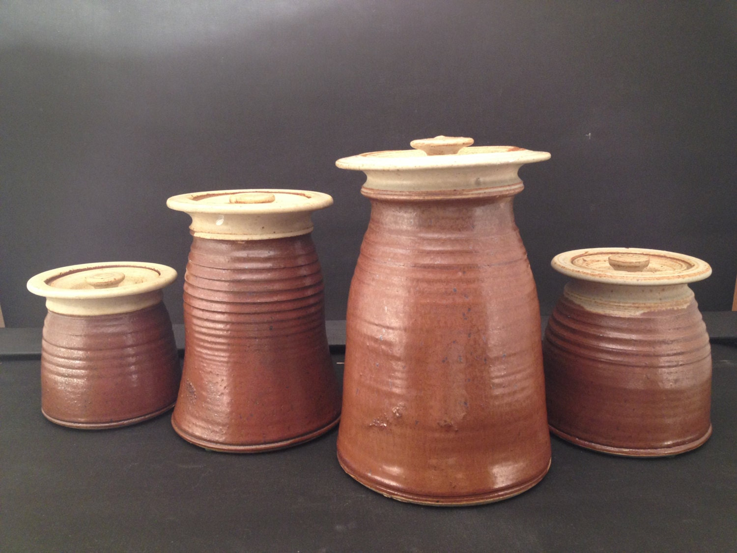 lidded pottery containers earth tone kitchen jars handmade in zoom