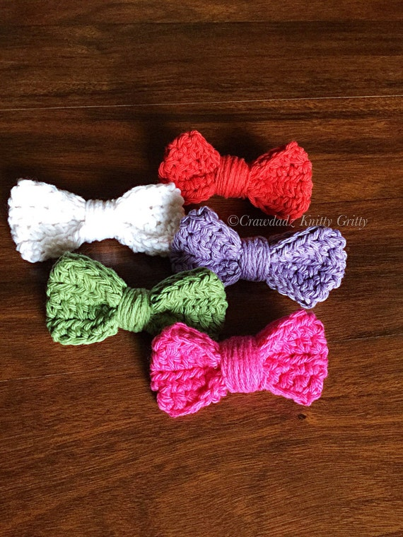 Crochet Hair Bow, Clip-On Hair Bow, Photography Prop, Girl Crochet Bow ...