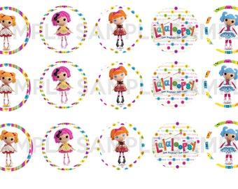 Las muñecas lalaloopsy botón ojos coser círculos de 1 pulgada - hoja de Collage Digital - la historieta