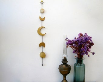 Moon Wall Hanging, Ceramic Lunar Phase Moon Wall Charm, Gold Home Decor