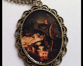 Necklace Pendant Sewing Machine Cameo Necklace