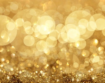Gold Bokeh with glitter   vinyl Photography Backdrop