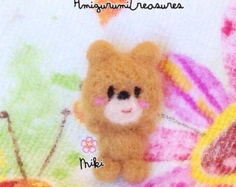 Mini Needle felted teddy bear, teddy bear plushie, cute bear plush, tiny felted teddy bear,  Kawaii bear