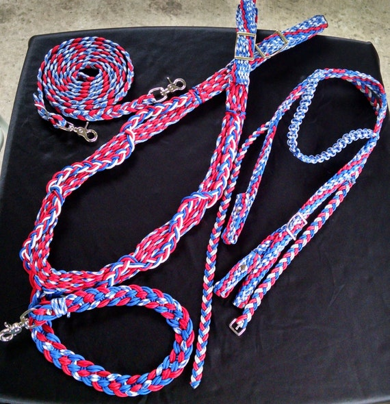 Horse Tack: Paracord Breast Collar Set- Standard Horse Size made #550 paracord, adjustable tug straps, trigger snap,D'Ring