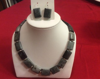 Gray marble Bead Necklace & Earrings