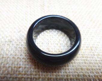 Free shipping natural obsidian ring couple ring (inner diameter 7-10mm)