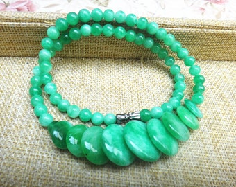 Free shipping natural glossy dark green jade necklace jade beads necklace