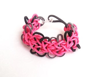 Rubber Band Bracelet, Butterfly Blossoms in Pink, Gray, and Black