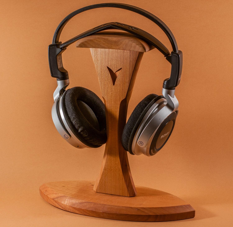 Wooden headphone stand headphone holder hardwood - Wooden headphone holder ...