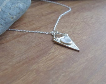 Bunting Heart necklace, fine silver, triangle necklace, heart necklace