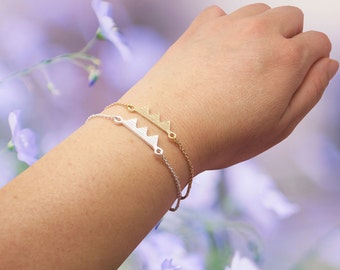 Dainty Forest Bracelet in Gold/Silver, Mountain Hill Bracelet, Bridesmaid Bracelet, Graduation Bracelet, Anniversary Bracelet BB543